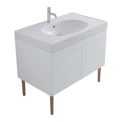 Ceramica Globo - Ceramica Globo | Affetto Floor-Mounted Vanity 90 - Made in Italy by Ceramica Globo.A part of the Affetto Collection. The Affetto Floor-Mounted Vanity 90 is a spacious storage solution for modern bathrooms. This vanity comes with two swing-out cabinet doors that conceal a large compartment perfect for storing spare towels, bathroom tissues, and other bath essentials at an arm's reach. The high quality ceramic sink and countertop space works well with wall-mounted or deck-mounted faucets. Product Features: