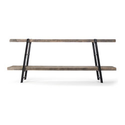 Kathy Kuo Home - Boulder Reclaimed Wood Industrial Iron Rustic Slab Entertainment Console - Simple and rustic become stylishly elegant in this handsome industrial console table. The uniquely designed rungs of the heavy iron legs allow for adjustable shelf heights to create a customized coffee table or accent table. Reclaimed oak will vary in color and grain, making each piece a one-of-a-kind creation.