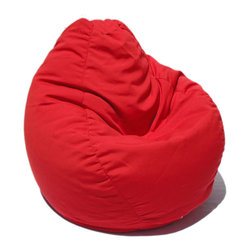 Bean Bag Boys - Bean Bag Boys Fabric Bean Bag Chair in China Red - Pear-shaped design offers back support or rounded appearance as needed. Complies with voluntary CPSC guidelines for zipper closures. 100% recyclable product. Product is refillable proudly made in the U.S.A double-stitched with clear nylon for added strength.