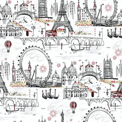 York Novelty Euro Scenic Wallpaper - Take a European vacation with this fun and whimsy pattern. A loose, multi-colored toile offers iconic images of a holiday in Paris. Soft background tones set the stage for punches of color from the double-decker bus, inky black Eiffel tower, and World's Fair ferris wheel. You'll feel like you're actually there! Classic and modern, simple and sophisticated, Tres Chic is a collection that transcends time and style. The simple elegance of black and white has been expanded into these stunning wallpaper designs from Ashford House. Fresh new color combinations and bold accent colors elevate this collection from fashionably modern to trés chic.