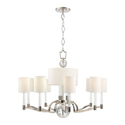 Hudson Valley - 12 Light Chandelier - Striking geometry sets off the glittering flourishes of this avante garde collection. Waterloo's strong silhouette is enhanced with inspired embellishments. Cut-crystal prisms scatter the warm light of glass-sleeved candlesticks, refracting a playful ca Bright and reflective, Polished Nickel invokes a current sensibility that is tempered by its welcoming, warm tone. Flat planes possess mirror-depth in this plating, while curves show their lively contours. Polished Nickel also highlights the versatility