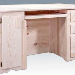 Montana Woodworks - Executive Office Desk - Handcrafted. Rustic timber frame design. Heirloom quality. Keyboard tray. Letter sized file drawer. Slide out tower compartment. Full extension, ball bearing slides. Designed with the hardworking executive in mind. Modest overhang front side. Made from solid U.S. grown wood. Made in USA. No assembly required. 63 in. W x 40 in. D x 31 in. H (145 lbs.). Warranty. Ready to Finish. Use and Care InstructionsAn extra large, laminated top provides work space aplenty!
