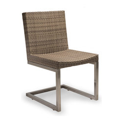 Thos. Baker - Palms Wicker Cushion Outdoor Dining Chair|Navy Cushion - The palms dining chairs  feature rich, coffee-colored Viro all-weather wicker woven over the same 304-grade stainless legs. Optional Sunbrella cushions are available for the side chair and armchir in your choice of custom colors including several quick-ship options. Or just use them without cushions.Industrial look with long service life and virtually no maintenance.Signature or premium cushion sales are final and ship in 2-3 weeks..