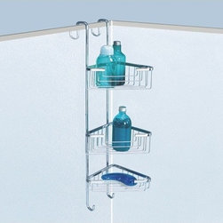 Gedy - Over-the-Door Corner Triple Shower Basket -13 - Contemporary style suspensible corner wire triple tier shower basket. Height-adjustable basket(s) made out of stainless steel and brass with a polished chrome finish. Three tier corner bath shower caddy hangs over door or shower. Made in Italy by Gedy. Corner wire triple tier shower organizer. Contemporary design. Height-adjustable shelves. Made out of stainless steel and brass. Polished chrome finish. Caddy hangs over the door or shower. From the Gedy Wire Collection.