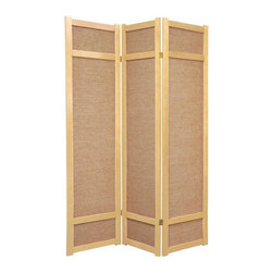 Oriental Furniture - 6 ft. Tall Jute Shoji Screen - 3 Panel - Natural - This is a unique variation of a Japanese shoji screen made from woven jute panels, and is a great choice where the white paper of a traditional shoji screen would not fit with the decor. Each panel frame is crafted from durable, lightweight spruce using East Asian style mortise and tenon joinery.