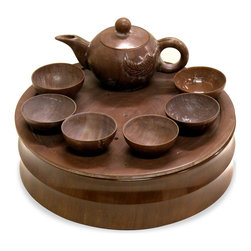 China Furniture and Arts - Hand Carved Brown Jade Tea Set - Tea drinking was a feature of Chinese cultural life for thousands of years. From the end of the 17th century, tea was shipped from China to Europe as part of the export of exotic spices and luxury good. Intricately hand carved and polished from ornamental brown jade, this traditional Chinese tea set is one of a kind for collection and will provide an interesting focus wherever place. For decorative purpose only.