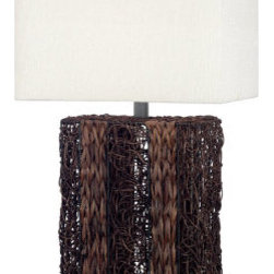 Grandin Road - Whistler Table Lamp - Wire base is woven with natural wicker stained with a dark brown finish. Included rectangular shade is covered in a cream tweed fabric. Uses one 150-watt three-way bulb (not included). 6' cord. Absolutely distinctive, the Whistler Table Lamp is made with alternating bands of intricately woven rattan. Featuring a designer-inspired look that captures the elegance of tropical style, this lamp will fill your room with beauty and light. . .  . . Some assembly required.