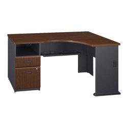Bush - Bush Series A Expandable Single Pedestal Corner Desk in Hansen Cherry - Bush - Computer Desks - WC94428