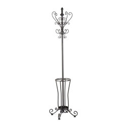 Southern Enterprises - Holly & Martin Sheffield Hall Tree - Artful wrought iron scrolling is a gracious choice for hall trees. This one is dainty by design but always dependable for holding coats and hats. You won't be trailing water across the floor, either, with the convenient umbrella stand built into the base.