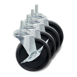 """Honey Can Do - Four Inch Casters - Pack of 4 - 2 locking wheels. Keeps shelving unit in place. Large 4 in. solid wheels. Maximum load capacity of 350 lbs. Universal design. For use with honey-can-do urban shelving. 4 in. L x 4 in. W x 6 in. H (2.25 lbs.)Honey-Can-Do SHF-01939 Large Solid Composite Urban Shelving Wheels, Black/Chrome. Mobilize your organization efforts with this 4-pack of solid composite wheels. Meant for use with Honey-Can-Do Urban Shelving units, the large 4"""" solid wheels boast a maximum load capacity of 350 lbs. Two of the wheels have locking mechanisms to secure shelving in place once moved to the desired location. Assembly tool is included."""
