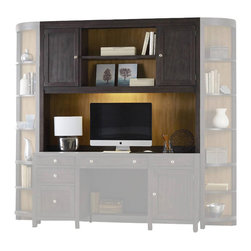 Hooker Furniture - South Park Computer Credenza Hutch - White glove, in-home delivery included!  Furniture assembly included!  Designed to be both appealing and functional the South Park collection is crafted from hardwood solids and maple veneers.  Hutch only.  Other South Park modular wall unit pieces sold separately.  Two doors with one adjustable shelf behind each door, open center area with one adjustable shelf, one task light.