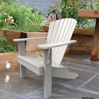 Malibu - Malibu Hyannis Adirondack Patio Chair - The classic design of this Hyannis Adirondack chair highlights a curved back and a relaxed seating position. Made from recycled plastic this chair uses stainless steel fasteners,making it virtually maintenance free.