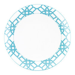 B by Brandie - Turquoise Truman Dinner Plate - Inspired by Truman Capote's legendary joie de vivre with the toast of the town, this bold dinner plate helps set the stage--and the table--for a sophisticated statement.