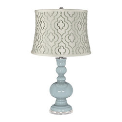 "Color Plus - Contemporary Rain Taj Sea Glass Shade Apothecary Table Lamp - Rain blue gray glass table lamp. White cotton blend fabric shade with embroidered sea glass green Taj pattern. Lucite base. Maximum 150 watt or equivalent bulb (not included). On/off switch. 30"" high. Shade is 14"" across the top 16"" across the bottom 11 1/2"" high.   Rain blue gray glass table lamp.  White cotton blend fabric shade with embroidered sea glass green Taj pattern.  Lucite base.  Maximum 150 watt or equivalent bulb (not included).  On/off switch.  30"" high.  Shade is 14"" across the top 16"" across the bottom 11 1/2"" high."