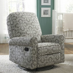 Ashewick Swivel Glider Recliner in Grey and White Doodle, Prime Resources Intern -