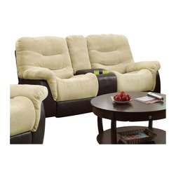 Coaster - Coaster Elaina Comfortable Reclining Motion Sofa in Cream and Brown - Coaster - Loveseats - 601072 - About This Product: This casual and comfortable reclining loveseat will relax your daily worries away. Crafted for style as well as comfort this piece features soft velvet and vinyl upholstery with a multitude of features for convenient living. While high seat backs pillow topped arms and attached chaise footrests provide un-broken comfort built-in cup-holders a center storage console and pull out drawer provide small conveniences for daily relaxation. Pair this piece with its coordinating collection sofa and loveseat.