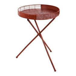 """Traders and Company - Faux Distressed Metal Red Collapsable Round Bar Table, 17.5""""Dx25.25""""H - Brightly colored & whimsically faux distressed metalware inspired by 1950's designs. Hand-applied finish with an antiqued retro look. Alternate shapes & styles sold separately. Dimensions : 17.5""""Dx25.25""""H"""