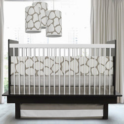 Oilo Crib Bedding Cobblestone Taupe Crib Set - I'm currently loving a soft gray and crisp white color scheme for gender-neutral nurseries. Also, don't be afraid to mix patterns. This cobblestone and striped pattern combination works beautifully.