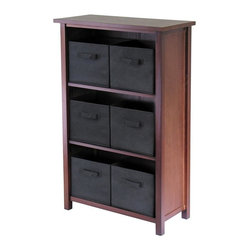 Winsome Wood - Walnut Finished Storage Unit 3 Shelves, 6 Bas - * Verona Collection. Walnut finish unit. Black color baskets. Wood Unit. Fabric baskets. Assembly required. Shelf Unit: 28 in. L x 13 in. W x 43 in. H, 28 lbs. Basket: 10.97 in. L x 10.06 in. W x 9 in. H. 1.2 lbs