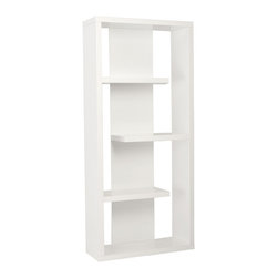 Eurø Style - Robyn White Shelving Unit - Why is it that when people think 'bookshelves' they often think 'boring'. Well it's probably because they haven't seen the Robyn Shelving Unit. An unusual set of shapes and lines, it looks pretty darn good empty! But wait... there's more.