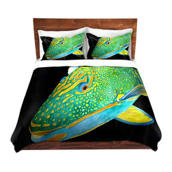 DiaNoche Designs - Duvet Cover Microfiber by Marley Ungaro - Deep Sea Life- Parrot Fish - Super lightweight and extremely soft Premium Microfiber Duvet Cover in sizes Twin, Queen, King.  This duvet is designed to wash upon arrival for maximum softness.   Each duvet starts by looming the fabric and cutting to the size ordered.  The Image is printed and your Duvet Cover is meticulously sewn together with ties in each corner and a hidden zip closure.  All in the USA!!  Poly top with a Cotton Poly underside.  Dye Sublimation printing permanently adheres the ink to the material for long life and durability. Printed top, cream colored bottom, Machine Washable, Product may vary slightly from image.