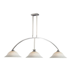 Three Light Brushed Nickel White Mottle Glass Pool Table Billiard Light - Clean and contemporary, this three light fixture finished in brushed nickel would be the perfect addition to any room of the home. Complimenting white mottle glass shades complete this modern look, while telescoping rods ensure the perfect hanging height.