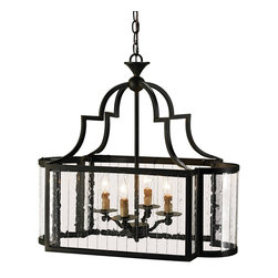 Currey & Company - Godfrey Lantern - This rectangular lantern is made very special with sides of multi-panel glass. The ends are curved, giving it a particular grace. The wrought iron frame is finished with Old Iron.
