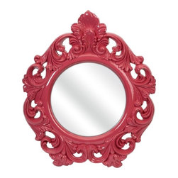 IMAX CORPORATION - Finely Pink Baroque Wall Mirror - In a bold baroque style frame, the Finely wall mirror adds a vintage style to any space. Find home furnishings, decor, and accessories from Posh Urban Furnishings. Beautiful, stylish furniture and decor that will brighten your home instantly. Shop modern, traditional, vintage, and world designs.