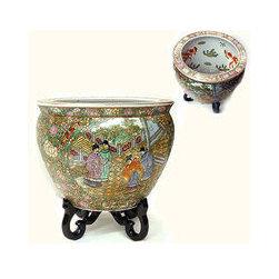 Chinese Porcelain Fishbowl/Planter in Rosé Medallion -