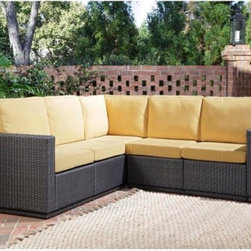 Home Styles Riviera Harvest All-Weather Wicker Five Seat Sectional - L-shaped for convenience, the Home Styles Riviera Harvest All-Weather Wicker Five Seat Sectional features a beautiful, contemporary design that adds style and comfort to your backyard. Fade-, stain-, and weather-resistant, this sectional is constructed with a rust-resistant, powder coated aluminum frame that is wrapped in 100% recyclable Cycroplene, a synthetic wicker. Bright, harvest colored cushions are soft, comfortable, and inviting. Stain-resistant, fade-resistant, and designed to repel water, the cushions are made from polyurethane with a polyester fiber wrap. For added support and sturdiness, this sectional has pieces that bold together. You'll love how easy it is to maintain this sectional year after year, only mild soap and water are required.Additional FeaturesCycroplene construction is 100% recyclableCycroplene is moisture- and weather-resistantEasy to maintain with mild soap and waterAdjustable levelers accommodate uneven surfacesL-shaped designPieces bolt together for added support and sturdinessAbout Home StylesHome Styles is a manufacturer and distributor of RTA (ready to assemble) furniture perfectly suited to today's lifestyles. Blending attractive design with modern functionality, their furniture collections span many styles from timeless traditional to cutting-edge contemporary. The great difference between Home Styles and many other RTA furniture manufacturers is that Home Styles pieces feature hardwood construction and quality hardware that stand up to years of use. When shopping for convenient, durable items for the home, look to Home Styles. You'll appreciate the value.