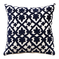 "Horchow - Navy & White ""Venice"" Collection 18""Sq. Pillow - NAVY/WHITE - Navy & White ""Venice"" Collection 18""Sq. Pillow"
