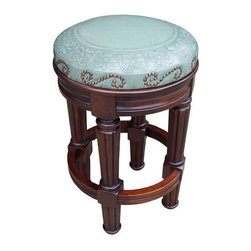 Peruvian Artisans - Marisa Round Tooled Leather Barstool, Counter Height - Indeed Decor's Marisa Round Tooled Leather Counter Stool is beautifully hand carved and is topped with a hand tooled leather seat and has a unique nailhead trim pattern. Our well made counter stool is definitely a conversation piece in any styled of decor.