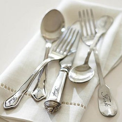 "Antique-Silver Flatware, 20-Piece Set - Vintage silverware that's been passed down for generations inspired this heirloom-quality flatware collection. Dinner Fork: 1"" wide x 8.5"" long Salad Fork: 1"" wide x 6.5"" long Dessert Spoon: 1"" wide x 7"" long Soup Spoon: 2"" wide x 8"" long Knife: 1"" wide x 8.5"" long Silver-plated brass. Each 5 piece place setting includes: salad fork, dinner fork, knife, soup spoon and dessert spoon."