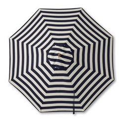Teak Stripe Market Umbrella - This crisp navy and white striped umbrella will add a big dose of nautical style to your deck, patio, or backyard.