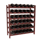 36 Bottle Stackable Wine Rack in Redwood with Cherry Stain + Satin Finish - A pair of discounted wine racks allow double wine storage at a low price. This rack accommodates all 750ml bottles, Pinots and Champagnes. The quintessential DIY wine rack kit. Your satisfaction is guaranteed.