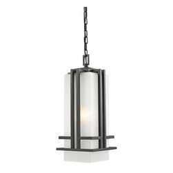 Z-Lite - Bronze Abbey 1 Light Outdoor Pendant with Matte Opal Shade - The geometric lines of the Abbey family combine well with contemporary home styling as well as homes in the craftsmen style. This large chain light fixture is made of steel and finished in black with matte opal glass.