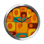 Crash Pad Designs - Mod Wall Clock, Mid Century Modern Wall Clock, Decorative Wall Clock, - Our 14 inch mod wall clock, will make a big retro statement in your pad. This aluminum clock has a quartz movement, aluminum hands, and a glass cover. The face is your favorite Crash Pad Designs pattern.  * 1 AA battery included