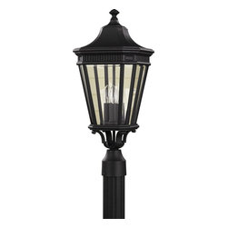 Murray Feiss - Murray Feiss Cotswold Lane Transitional Outdoor Post Lantern Light X-KB7045LO - A classic tapered lantern shape with traditional details is highlighted by clean finishes on this Murray Feiss outdoor post lantern light. From the Cotswold Lane Collection, it features three candelabra style lights behind clear beveled glass panels, which add a subtle modern finishing touch.