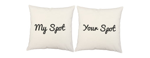 Store51 LLC - My Spot Throw Pillow Covers 16x16 Square White Cotton Shams - FEATURES: