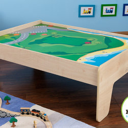 "Kid Kraft - Kids Toy Train - Kids Train Table in Natural Color - This KidKraft's Toy train with table is specially designed for kid-sized to have an effortless fun. With its wide, generous play table this train table has many unique features, Specially its T-molded edges prevents chipping. Its Curved edges gives safety to children. It has Silk-screened landscaped play board with 1.5"" lip to keep toys on the play table."