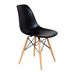 #N/A - The Mid-Century Eiffel Dining Chair - Black - The Mid-Century Eiffel Dining Chair - Black. The Mid-Century Eiffel Dining Chair features a clean, simple form sculpted to fit the body. The shell is quality PP and base is made from wood and chromed steel.