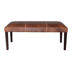 "EuroLux Home - New Leather Bench 48"" Consigned Antiqued Brown - Product Details"