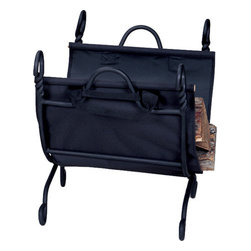Uniflame - Uniflame W-1125 Ring Swirl Black Log Rack w/ Canvas Carrier - Ring Swirl Black Log Rack w/ Canvas Carrier belongs to Fireplace Accessories Collection by Uniflame