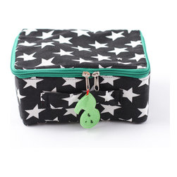 Pakhuis Oost - Star Fabric Suitcase, Black with Big White Stars - Kids will be starry-eyed with delight over this child-sized suitcase. An ideal size for travel, but also perfect for decoration and storing small treasures, this suitcase features a large star print that would also work well during the holiday season. A colorful zipper and cheerful tag detail this suitcase.
