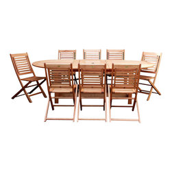 Amazonia - Milano 9 Pc Grand Extendable Table Set - Set includes Oval Table and 8 Side Chairs. Solid Eucalyptus wood and galvanized steel hardware. 100% FSC certified. Free Feron's wood sealer/preservative for longest durability. It works great against the effects of air pollution salt air, and mildew growth. For best protection, perform this maintenance every season or as often as desired. Great functionality. 100% FSC Eucalyptus Wood. Water Repellent Polyester Cushions. Some assembly required. Brown finish. Table: 70-94 in. W x 45 in. D x 29 in. H. Side Chair: 36 in. W x 19 in. D x 14 in. HGreat quality, stylish design patio sets, made of 100% FSC approved Eucalyptus wood. Cotton cushion. Enjoy your patio with elegance all year round with the wonderful Amazonia outdoor collection.
