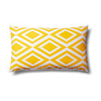 5 surry Lane - Home Decor Accent Pillow Graphic Geometric Diamond Print, Yellow - This graphic diamond print pillow is a touch traditional and a touch modern. It will bring a dollop of sophistication to just about any setting.  100% cotton.  Hidden zipper closure.  Down insert included.  Made in China.