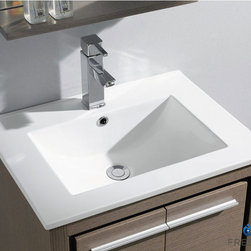 "Fresca - Fresca Allier 24"" Modern Single Sink Vanity Set w/ Mirror - The Fresca 24"" Allier is a compact free standing vanity with plenty of storage space. This model is accented nicely with a matching mirror with small shelf. Optional side cabinets are available. Many faucet styles to choose from."