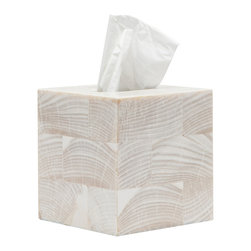 """Pigeon & Poodle - Pigeon & Poodle Palermo Tissue Box Cover - The Pigeon & Poodle Palermo tissue box cover embodies cool, coastal glamour. Covered in natural clam shell pieces, this accessory captivates with bold, striated lines. 5.5""""W x 5.5""""D x 5.75""""H; Due to handmade quality, natural variations may occur"""