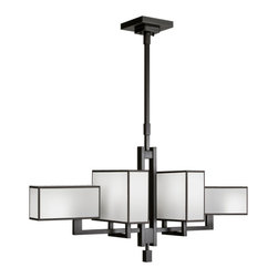Fine Art Lamps - Black + White Story Chandelier, 734040-6ST - Straight lines, rectangular shades and a low-profile horizontal design give this chandelier a clean, modern look, but it's the stunning frame that takes it to another level of chic. The bright white version has an unearthly quality that contrasts with the solid metal structure in an unexpected, dramatic way. For more contrast, hang this near a colored wall or ceiling to let the angular lines stand out.