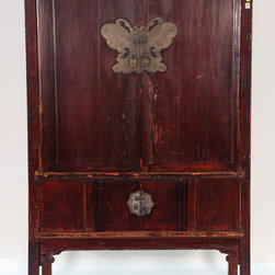 Antique Chinese 4-Door Cabinet with Butterfly Plate - Antique Chinese 4-Door Cabinet with Butterfly Plate